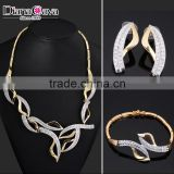 2-Tone Plated Jewellery CZ Abstract Statement Design Wedding Big Bridal Jewelry Set