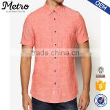 Coral Linen Textured Men's Shirts Summer Cool Button Up shirts                                                                         Quality Choice