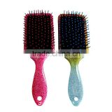 Nylon boar bristle cushion paddle hair brush