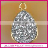 Wholesale Pear 12mm Silver Flat Druzy Stone With Gold Bezel Connector
