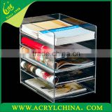 5mm clear acrylic data frame with 5 layers, A4 transparent plexiglass brochure shelf with 305*235*330mm