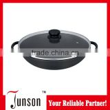 32cm Die Casting Aluminum Chinese Wok/Non-stick Chinese Woks with Glass Lid