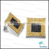 yellow cz brass stud earrings micro pave earring