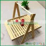New folding hanging bamboo fruit vegetable basket, cake bread tray