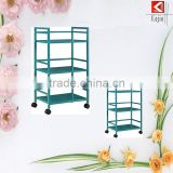 Professional wheeled 3 tier metal stainless steel trolley library furniture with CE certificate