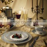 houseware 32pcs embossed bone china dinner set for food charger plate
