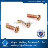 ningbo weifeng fastener slot pan head gold plated machine screw made in china