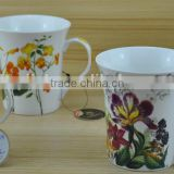 14OZ beautiful flower design fully decal printed ceramic mug, shiny surface new bone china cup, KL5001-10314