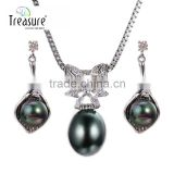Body jewelry AAA shell beads pendant copper chain necklace and earring jewellry set for women