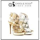 sexy shoes and bag set luxury gold silver mesh high heel ankle strap wedding shoes