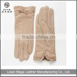 fashion dress new arrival beige color ladies cheap pig suede gloves