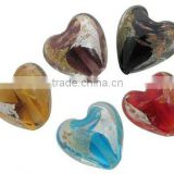 Handmade Gold and Silver Foil Glass Beads, Gold Sand, Heart, Multicolor, 15x15mm, hole: 2mm(FOIL-X070-M)