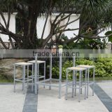 high bar stool and table, bistro dining polywood chair and table, aluminum table and chair