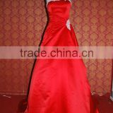 (MY0024) MARRY YOU Satin A Line White Lace Top Red Wedding Dress Pictures