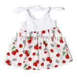 online shipping boutique newborn baby clothing one pieces infants casual soft cotton strawberry print frock