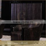 JS01 Sectional Sofa Full Grain Leather Sofa Black Crocodile Pattern in the Living Room-JL&C Luxury Home Furniture