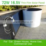 72W amorphous silicon flexible thin film solar panel from First class solar panel manufacturer
