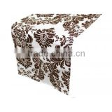 30cm*250cm chocolate damask flocking table runner