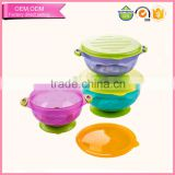 Cute Design Colorful Food-Grade Baby Bowl Silicone Baby Feeding Bowl Set With Lid For Microwave Oven