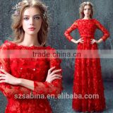 Hot selling Elegant beautiful lace appliqued red long evening dress evening dress for big sizes