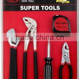 8PCS household tool sets 6'' slip joint pliers 9'' water pump plier 8'' adjustable wrench 4-in-1screwdrivers