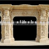 Hand Carved Marble Stone Fireplace Mantel With Statue Carved