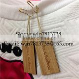 Natural Bamboo Garment Hand Tag For Clothing Engraved Wooden Hanger With Golden Pin High Quality Custom-Made Clothing Tag