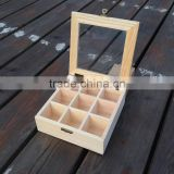 pine Customize multicellular glass display wooden box 9 grids packaging box tea storage gift jewelry box 15*15*5.2cm