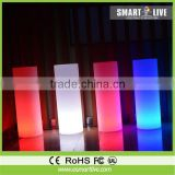 Bar glowing cylindrical pillars furniture tables and chairs, led lighting bar furniture