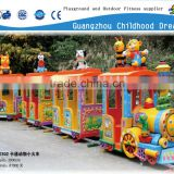 (HD-10302 )Cartoon Baby Face 8 Seats Fiberglass Train , play land park amusements rides electric train for sale speed train
