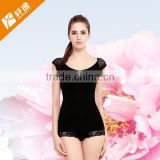 Women V neck Sexy lace bodysuit slim lift body shaper slimming underwear with short sleeve