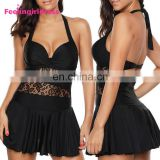 Black Lace Open Back Ruffled Hem Sexy Women Swimsuit