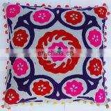 Suzani Pillow Cover Indian Boho Throw Cushion Cover Embroidered Pillow cover Cushion Embroidered Ethnic decorative Vintage cases
