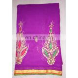 Women's Designer Purple Wedding Wear Embroidered Resham Work Georgette Sari Bridal Saree Party Wear Dress