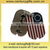 USA silver flag soldiers bead chain hangtag