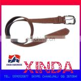 Brown PU leather belt, stylish and with hand-sewing, reliable quality and competitive price