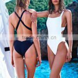 new 2016 solid simple design creative black white one piece swimsuit sey swimwear halter Bodysuit Fashion Bathing Sui