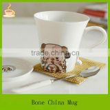 white ceramic tea mug with cute animal designs and bone china mug