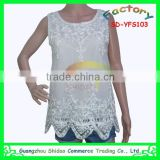 Fashion polyester non woven organza mesh high quality embroidery blouses beads decoration blouse