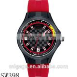 Men's Pit Crew Red Silicone Strap Round black plastic case watch