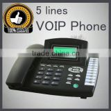 5 line voip phone RJ45,support Asterisk with cheap price IP Phone cordless phone 2 line