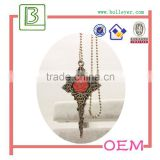 Designer Inspired Open Heart Shaped Key Pendant and Necklace Polished Antique Brass Tone