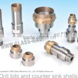 Threaded shank glass cutting diamond drill bits for glass