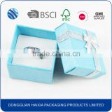 China manufacturers custom logo wholesale paper engagement jewelry wedding ring packaging box with velvet insert