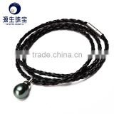 black tahitian baroque pearl with leather bracelets for women multilayer
