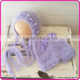 2015 new fashion newborn baby girl photography prop set crochet mohair outfit for baby girl Image