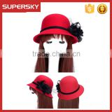 K-108 ladies formal hats with flower charm band wool felt bucket high quality women lace trim homburg