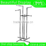 Heavy Duty 4-Way Stand-up clothes display rack stand with Straight Arms and Square Tubing