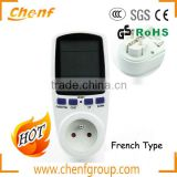 High Quality France Plug White Digital LCD Energy Meter Watt Volt Voltage Electricity Monitor Analyzer Power Factor