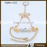 Wholesale fashion unique design personalized gold plated rhinestone butterfly bracelet with ring